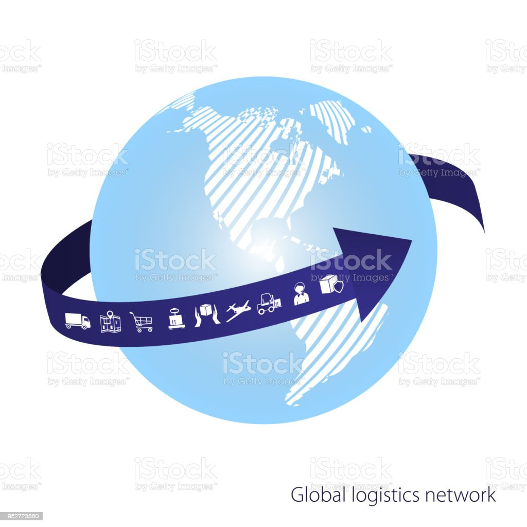Global logistics network the blue arrow goes around the globe white global logistics network the blue arrow goes around the globe white similar world map gumiabroncs Image collections