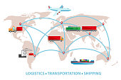 Vector illustration of delivery and transportation services. Shipping by train, airplane, truck and ship. World map with the loads, cargo, shipment traffic.