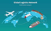 Global logistics network concept. Flat 3d isometric vector illustration. Air cargo, trucking, rail transportation, maritime shipping.