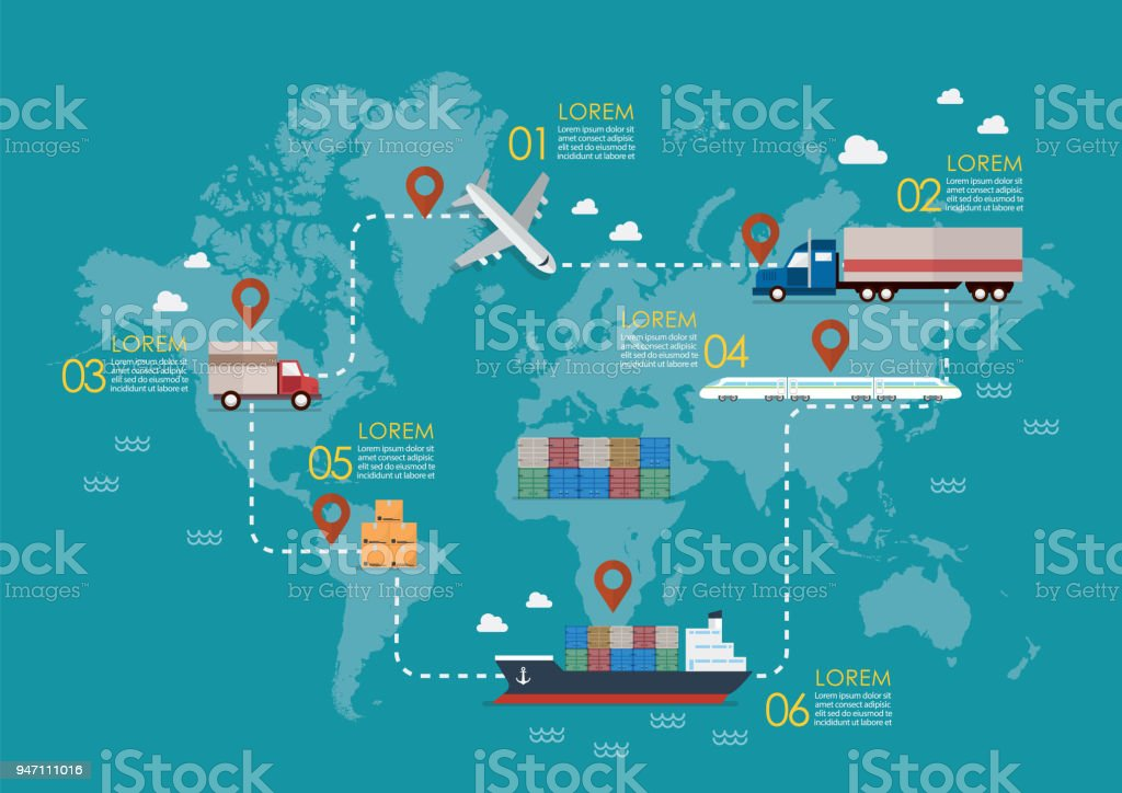 Global logistics network vector art illustration
