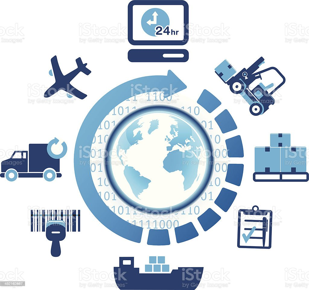global logistics shipping icons vector art illustration