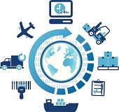 global logistics shipping icons