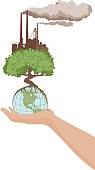 Hand holding a globe & a tree. Global manufacturing