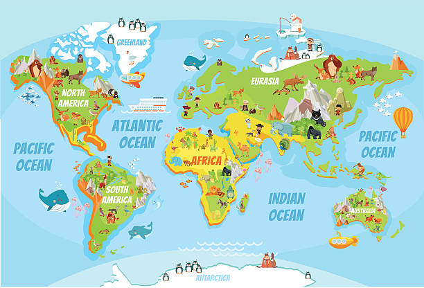 Global map with cartoon animals - ilustración de arte vectorial