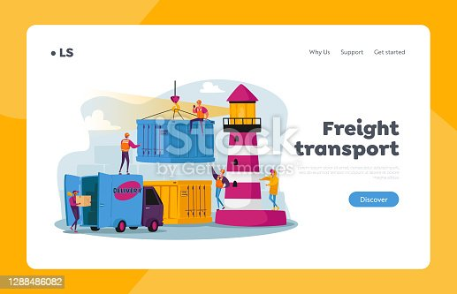 istock Global Maritime Logistic Landing Page Template. Characters Work in Seaport Load Cargo, Shipping Port with Harbor Crane 1288486082
