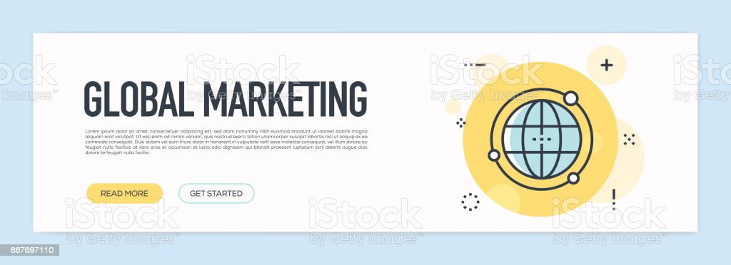 Global Marketing Concept - Flat Line Web Banner vector art illustration