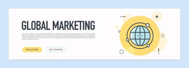 globales marketingkonzept - flache linie web-banner - webdesigner grafiken stock-grafiken, -clipart, -cartoons und -symbole