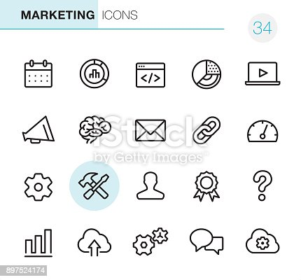 20 Outline Style - Black line - Pixel Perfect icons / Set #34 / Global Marketing / Icons are designed in 48x48pх square, outline stroke 2px.