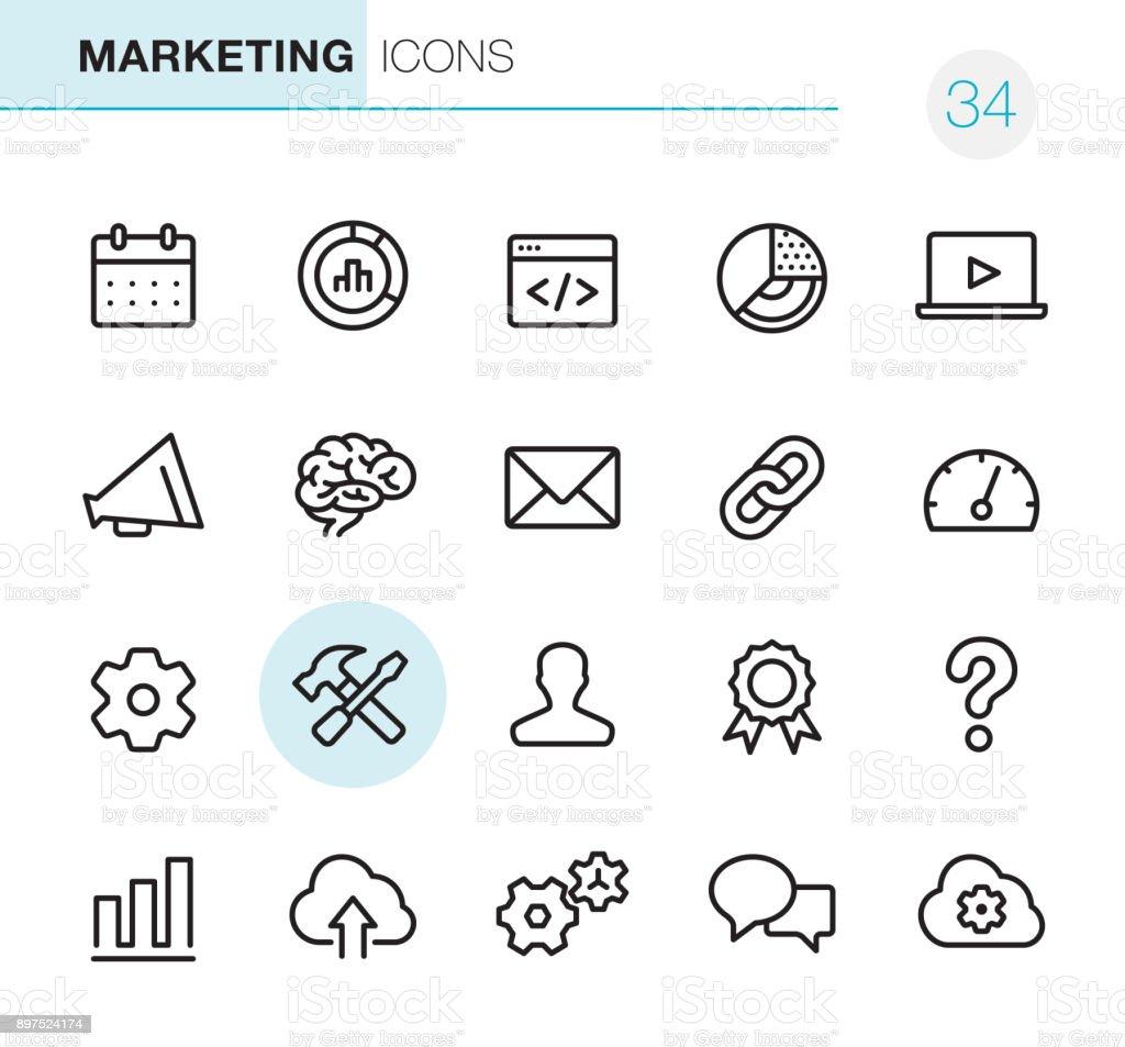 Global Marketing - Pixel Perfect icons vector art illustration