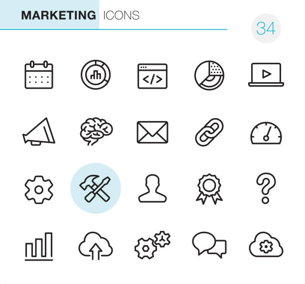 Global Marketing - Pixel Perfect icons 20 Outline Style - Black line - Pixel Perfect icons / Set #34 / Global Marketing / Icons are designed in 48x48pх square, outline stroke 2px. hyperlink stock illustrations