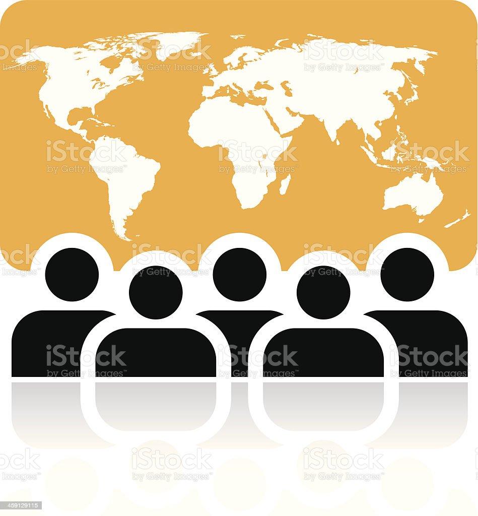 Global meeting sign vector art illustration
