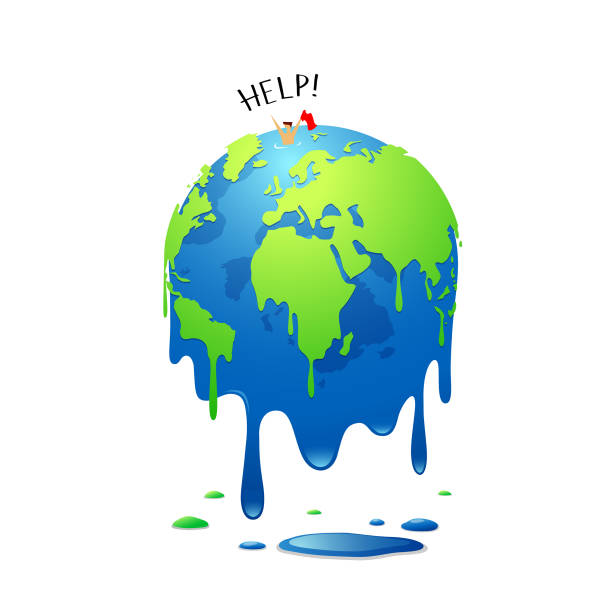 illustrazioni stock, clip art, cartoni animati e icone di tendenza di global melting, concept global warming, people help - climate change