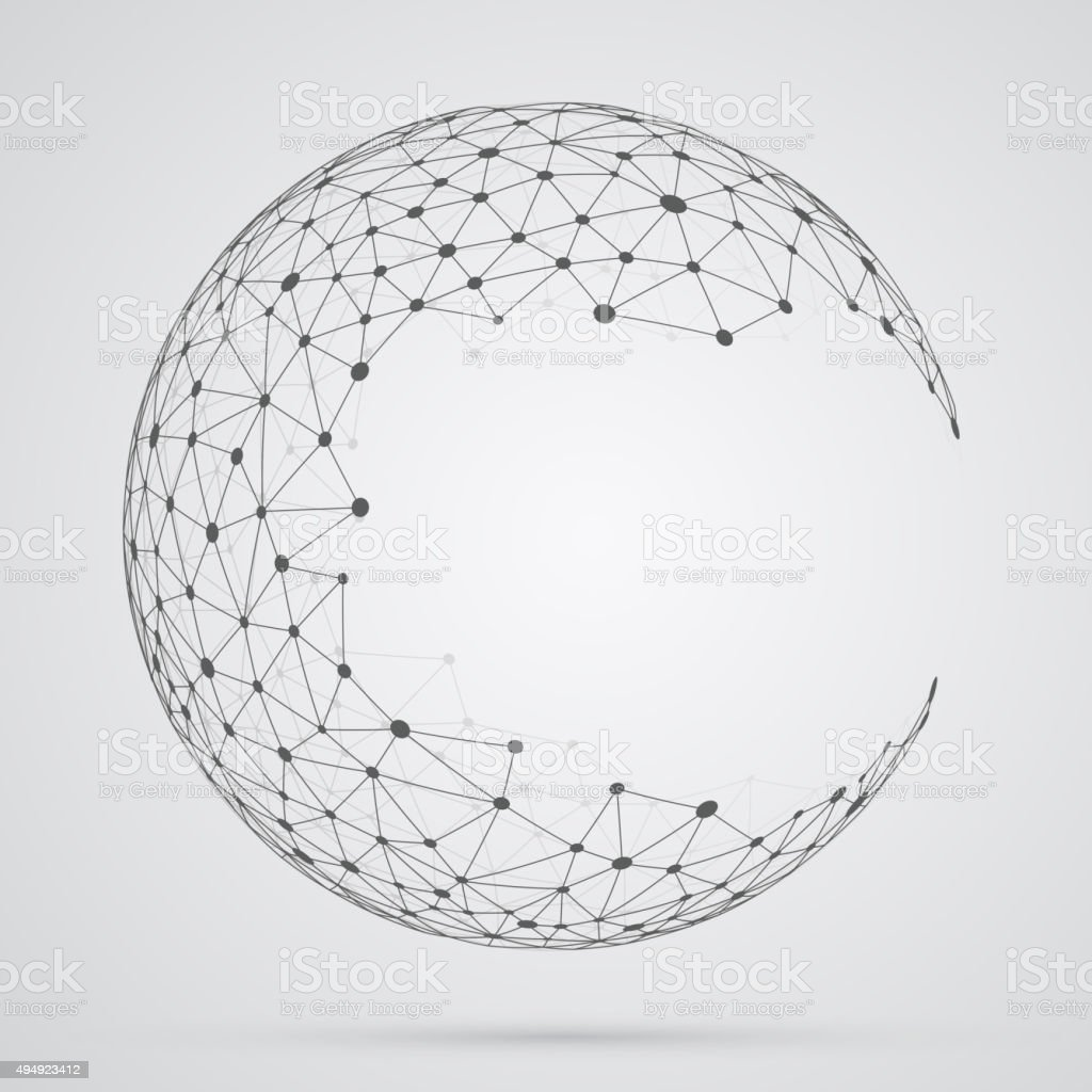 Global mesh sphere. Abstract geometric shape with spherical seve vector art illustration