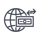 Global Money Icon Flat Graphic Design