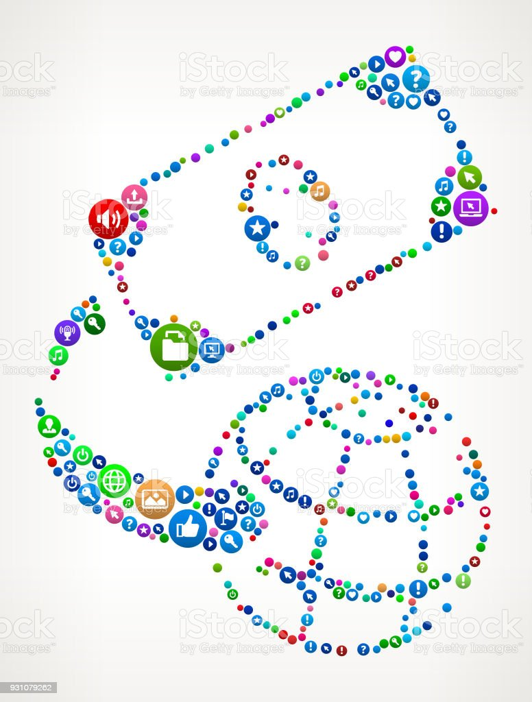 Global Money Internet Communication Technology Icon Pattern vector art illustration