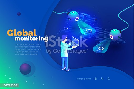 1054713428 istock photo Global monitoring. A man with a laptop interacts with a global tracking system. Data collection. World map. Modern vector illustration of isometric style. 1077183054