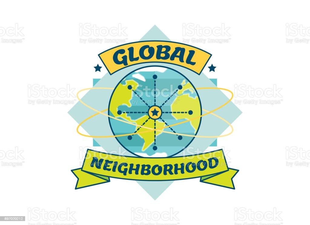 Global Neighborhood vector badge illustration vector art illustration