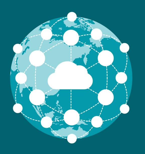 グローバル ネットワーク ビジネス イメージ テンプレート (クラウド) - 地球 日本点のイラスト素材/クリップアート素材/マンガ素材/アイコン素材