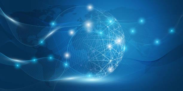koncepcja globalnej komunikacji sieciowej - globalny stock illustrations