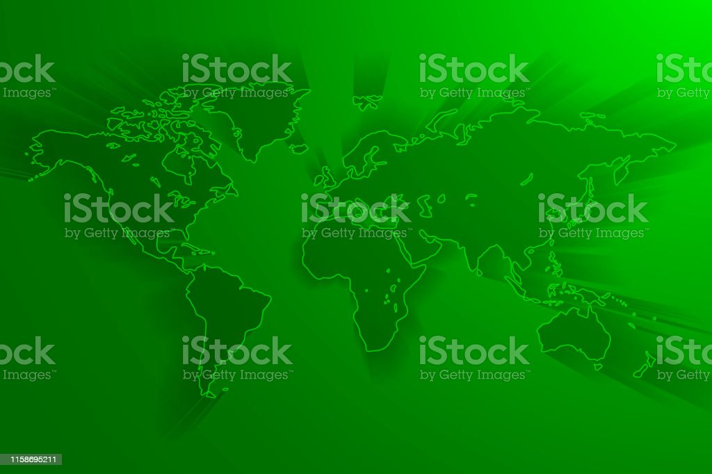 Global network connection background, green world map, vector,...