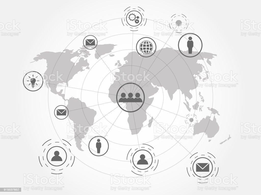 Globales Netzwerk Verbindung Hintergrund Symbol Der Internationalen ...