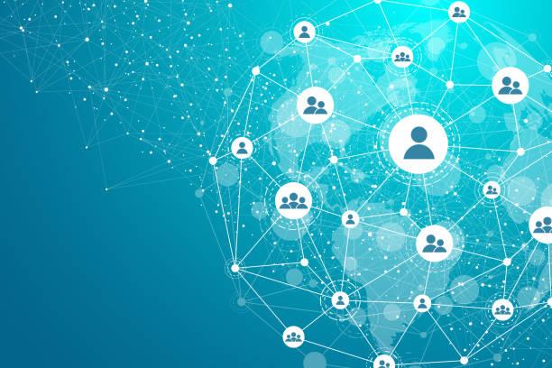 글로벌 네트워크 연결 개념입니다. 빅 데이터 시각화. 글로벌 컴퓨터 네트워크에서 소셜 네트워크 통신. 인터넷 기술. 비즈니스. 과학. 벡터 일러스트입니다. - 수다 stock illustrations