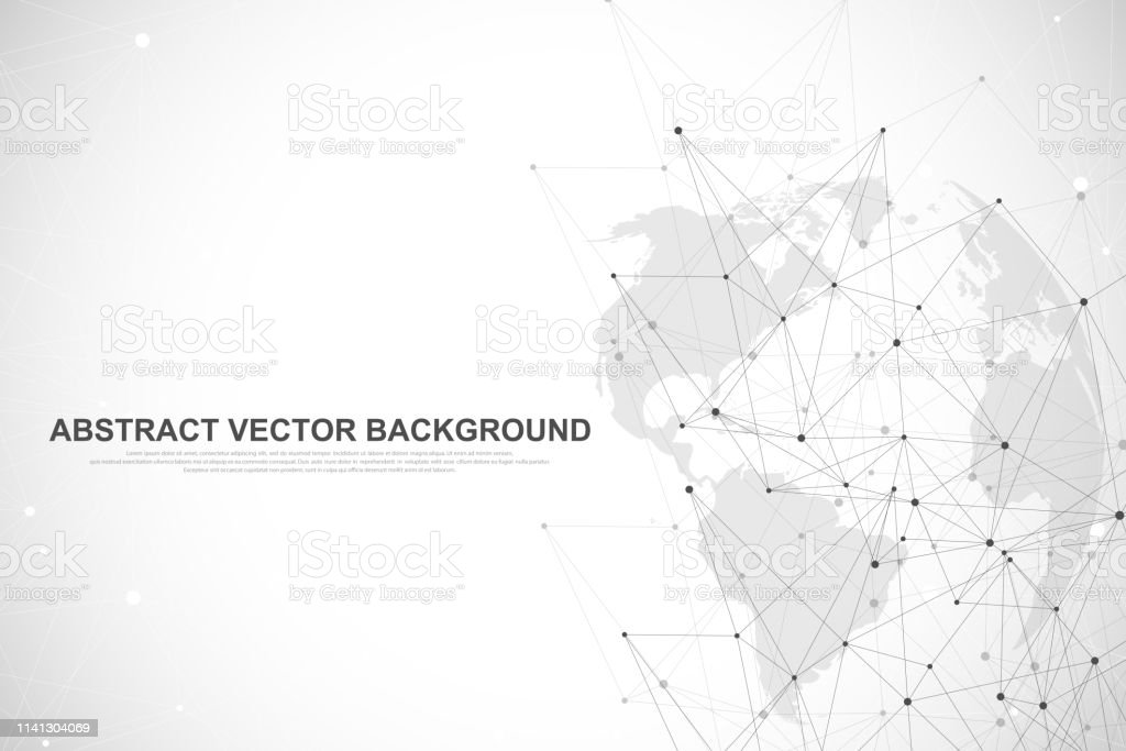 Global network connection concept. Big data visualization. Social...