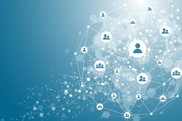 koncepcja globalnego połączenia sieciowego. wizualizacja dużych zbiorów danych. komunikacja w sieciach społecznościowych w globalnych sieciach komputerowych. technologia internetowa. biznes. nauka. ilustracja wektorowa - sieć komputerowa stock illustrations