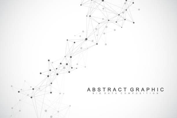Globale Netzwerkverbindung. Geometrischer abstrakter Hintergrund mit verbundener Linie und Punkten. Netzwerk- und Verbindungshintergrund für Ihre Präsentation. Grafischer polygonaler Hintergrund. Vektor-Illustration. – Vektorgrafik