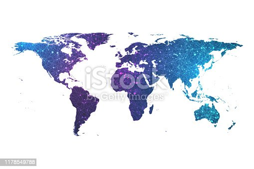 istock Global network connection plexus particle world map. World map point and line composition concept vector illustration of global business. Worldwide network connection 1178549788