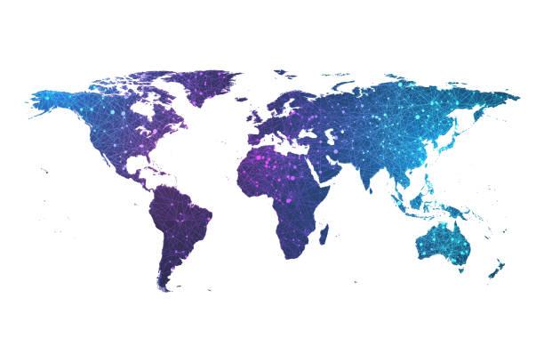 グローバルネットワーク接続プレクサス粒子ワールドマップ。グローバルビジネスのワールドマップポイントとライン構成コンセプトベクトルイラスト。ワールドワイドネットワーク接続 - 地球 日本点のイラスト素材/クリップアート素材/マンガ素材/アイコン素材