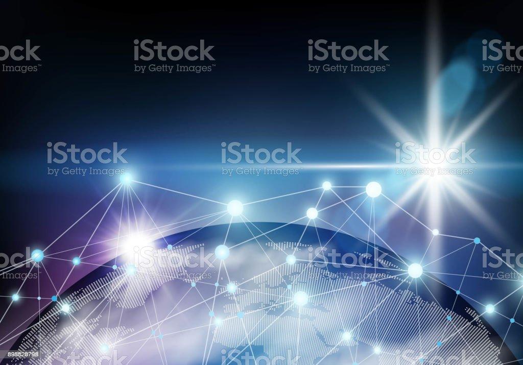 Global network connection vector art illustration