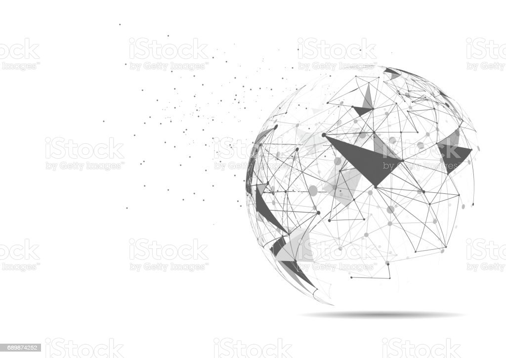 Line Art Earth : Global network connection world map point and line composition