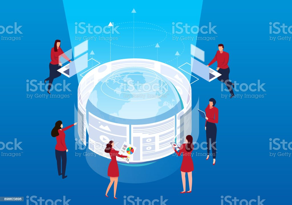 Global network development vector art illustration