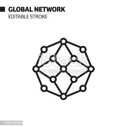 Global Network Line Icon, Outline Vector Symbol Illustration. Pixel Perfect, Editable Stroke.