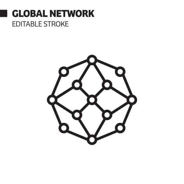 ikona globalnej linii sieciowej, ilustracja symbolu wektorowego konturu. pixel perfect, edytowalny obrys. - sieć komputerowa stock illustrations