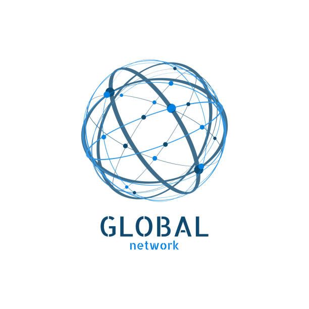 ilustraciones, imágenes clip art, dibujos animados e iconos de stock de logotipo de la red global. diseño mínimo de la conexión. ilustración de vector - global