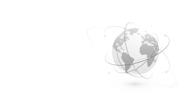 Global network world concept vector banner background with copy space at left side. Technology globe with continents map and connection lines, dots and point. Digital data planet design in flat style vector art illustration