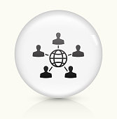 istock Global Networking icon on white round vector button 537303508