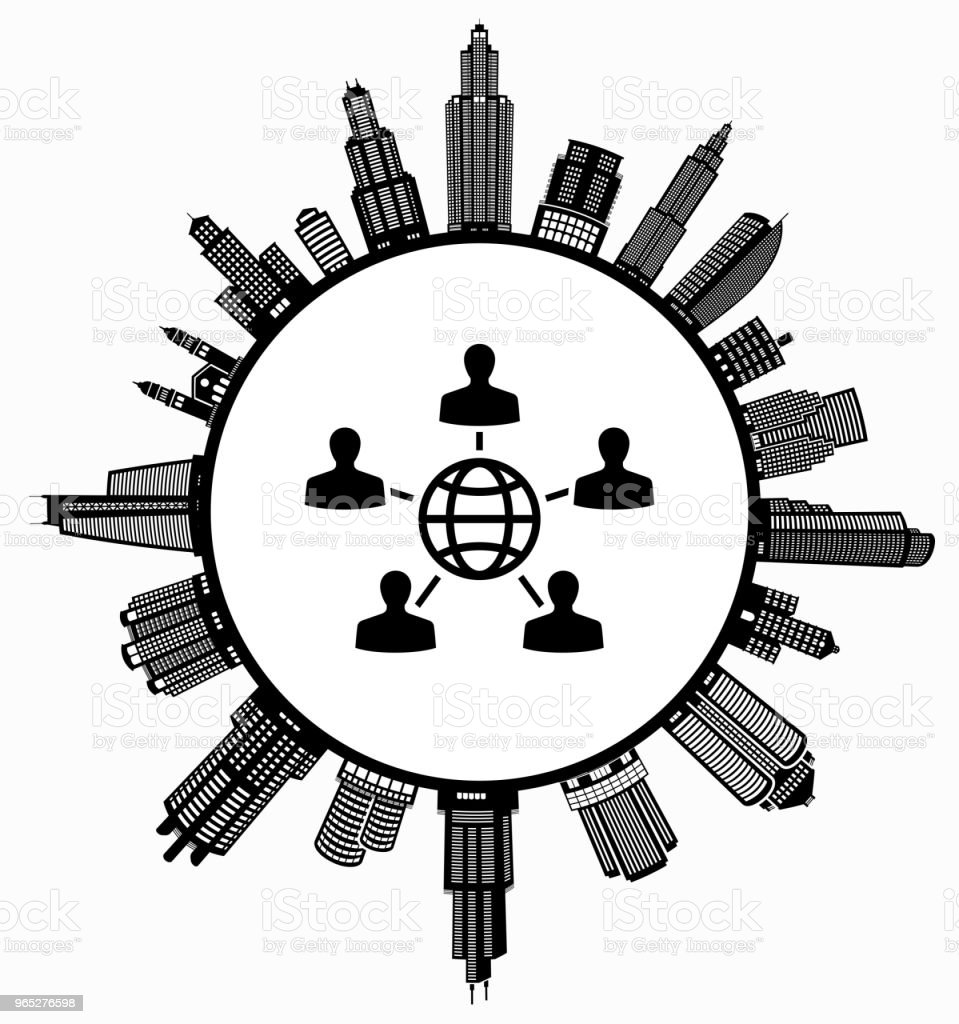 Global Networking  on Modern Cityscape Skyline Background royalty-free global networking on modern cityscape skyline background stock vector art & more images of architecture