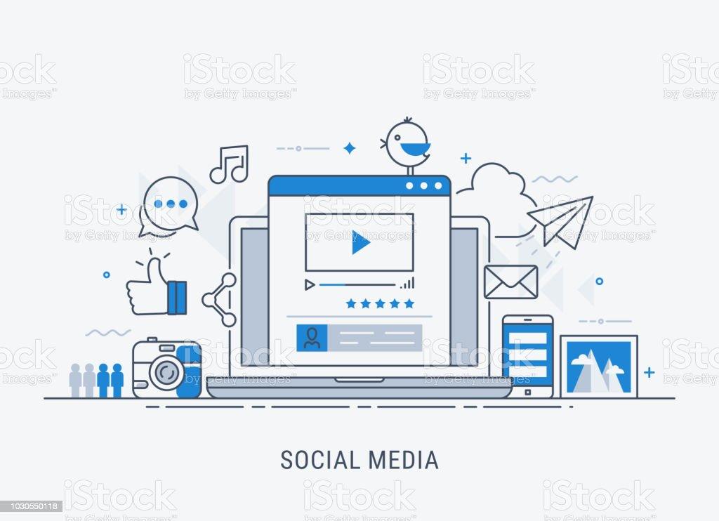 グローバル ネットワークと社会的なメディアの概念 ロイヤリティフリーグローバル ネットワークと社会的なメディアの概念 - つながりのベクターアート素材や画像を多数ご用意