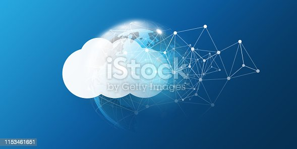 Abstract Cloud Computing and Global Network Connections, IT or Technology Concept Background or Cover Design Element Template - Illustration in Editable Vector Format