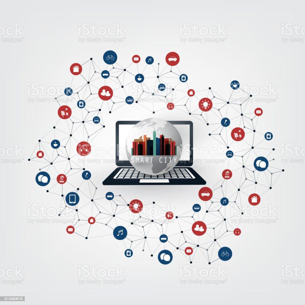 Global Networks, Smart City, Internet Of Things Design Concept vector art illustration