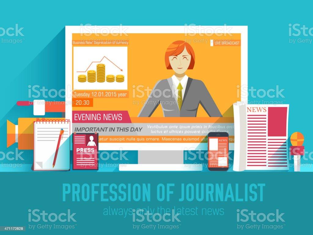 global news information equipment for journalist background concept vector art illustration