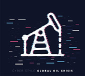 Glitch effect vector icon illustration of global oil crisis with abstract background.