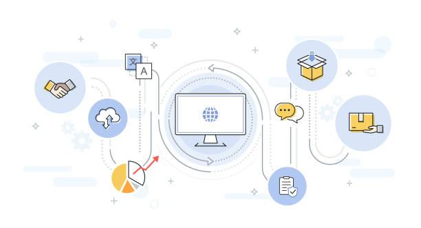 illustrazioni stock, clip art, cartoni animati e icone di tendenza di global online business with business icons - new normal