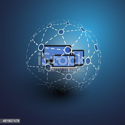 Access from Multiple Device, Worldwide Connections - Abstract Dark Blue Digital, Global, Social Networks and Communication Concept Creative Design with Digital Mesh Globe and Tablet PC, Mobile Devices in The Center - Illustration in Freely Scalable and Editable Vector Format