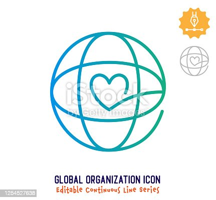 Global organization vector icon illustration for logo, emblem or symbol use. Part of continuous one line minimalistic drawing series. Design elements with editable gradient stroke line.