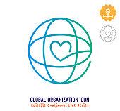 istock Global Organization Continuous Line Editable Stroke Line 1254527638