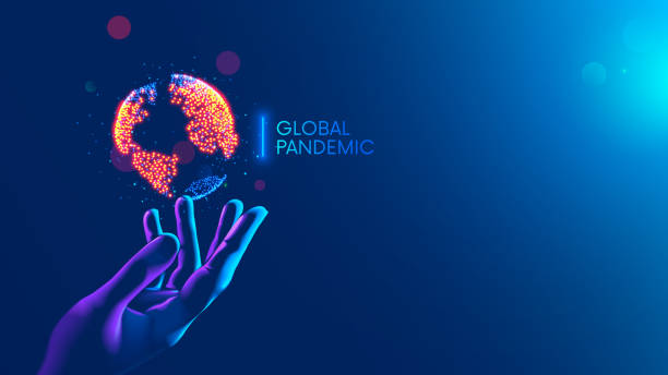 Global pandemic concept. Red dots show nidus of infection on continents of earth hanging over hand medical doctor. Map of World epidemic coronavirus covid-19. disease or Infection on planet on blue. vector art illustration